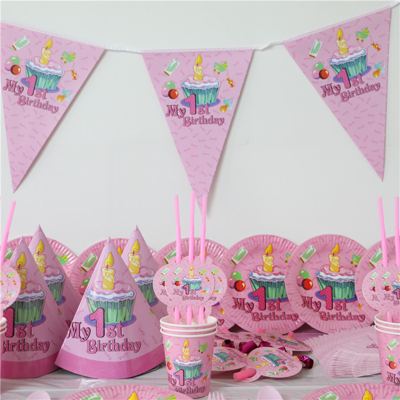 Pink Baby Girl 1st birthday cake candy Wedding birthday Party