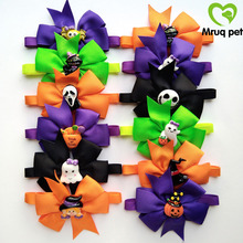50/100pcs Halloween Pet Dog Cat Bow Ties/Bowties Adjustable with Cute Resin Accessories Collar Supplies