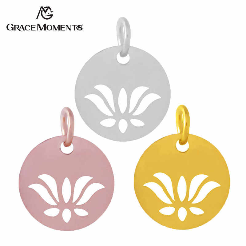 10pcs/lot Grace Moments 316L Stainless Steel Cut Out Lotus Charm 3 Colors DIY Bracelet Charm Pendant Making Handmade Jewelry