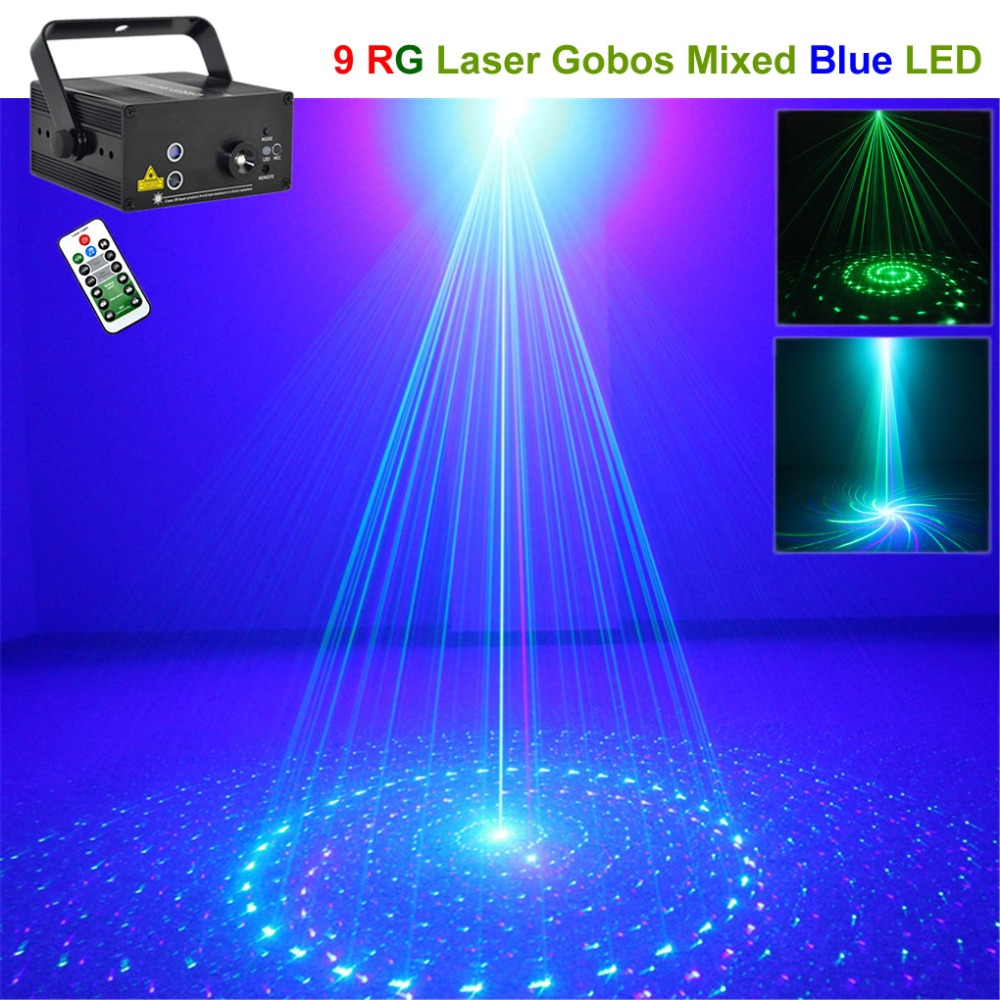 Mini 9 GB Green & Blue Pattern Laser Projector Lights 3W Blue LED Mixing Effect DJ Party Home Wedding Show Stage Lighting 09GB все цены