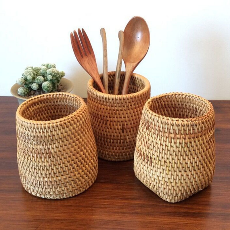 Rattan Chopsticks Tube Shovel Spoons Bucket Dinner Knives Forks Tableware Storage Box Home Storage Baskets Organizador Neatening