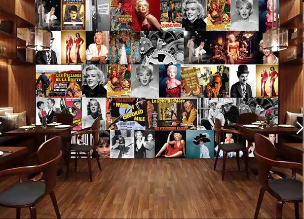 Custom Retro Wallpaper.Hollywood Star Poster.3D Wallpaper Mural For Living Room Sofa Cafe Background Waterproof PVC Wallpaper