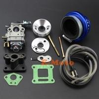 Carburetor Carb Blue Air Filter Stack Intake Kit w/ Fuel Line For 43cc 47cc 49cc Pocket Bike Super Razorback Boreem Minimoto ATV