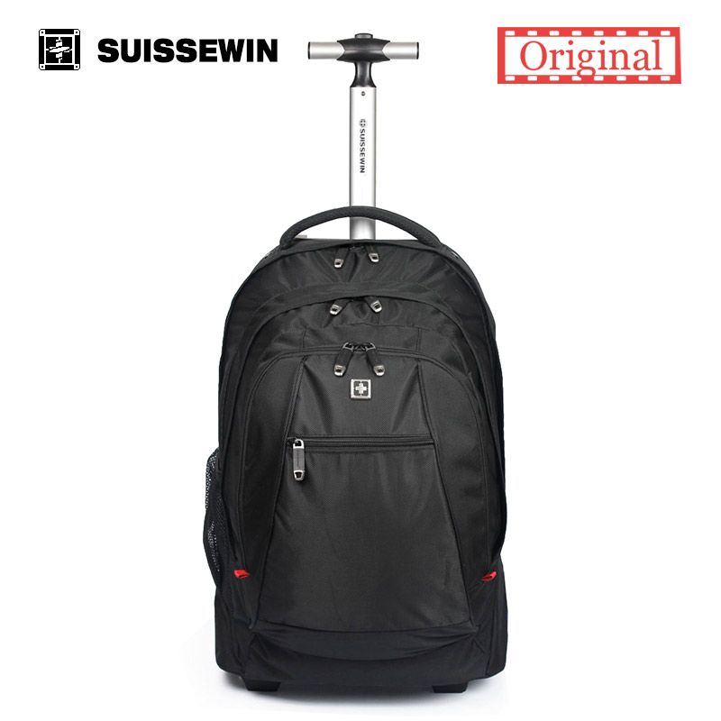 Hot Sale Swiss Gear Wheeled Backpack Black men s Trolley Travel Bag Light Carry on luggage