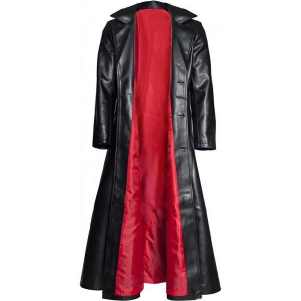 Men's Fashion Loose Lapel Collar Leather Button Jacket Gothic Long Coat Leather Coat Faux Leather Jacket Jackets S-5XL #0712(China)