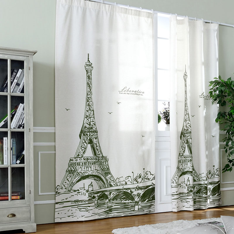 Curtain Fabrics For Living Room Ready Made Window Treatments Short Drapes Eiffel Tower Home