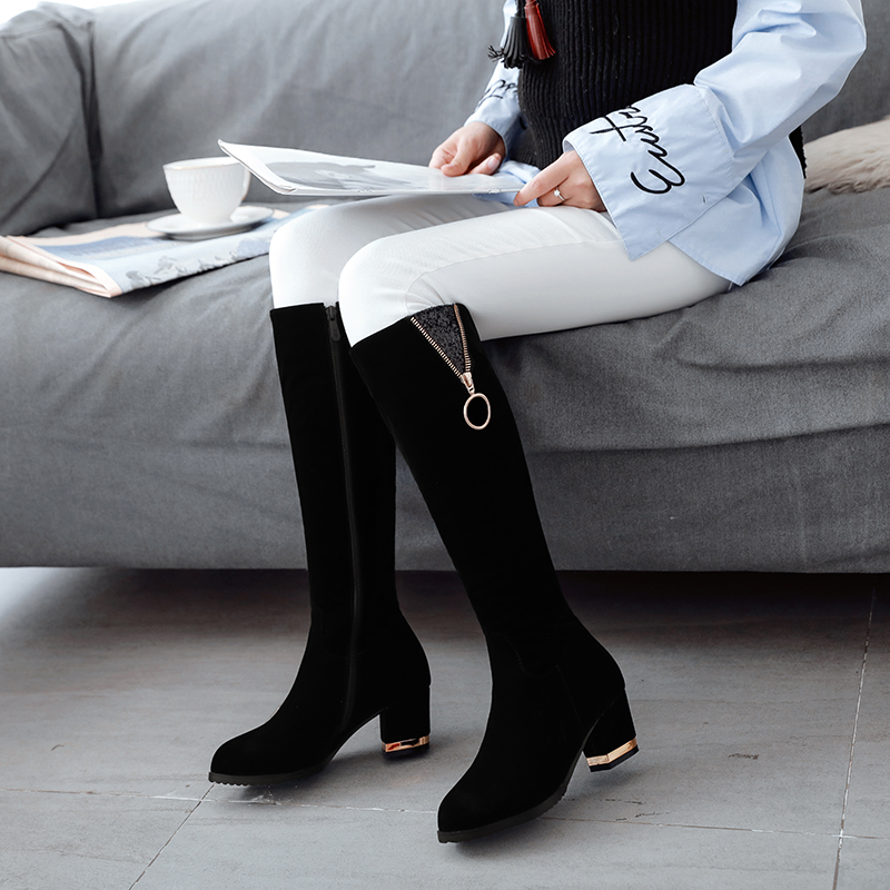 Zip Mentale Femmes Sexy Décoration 2018 Hauts Troupeau Noir Rond Talons Genou Carrés Femme Arrivée haute Bout Chaussures Nouvelle Bottes ymf7gvIYb6