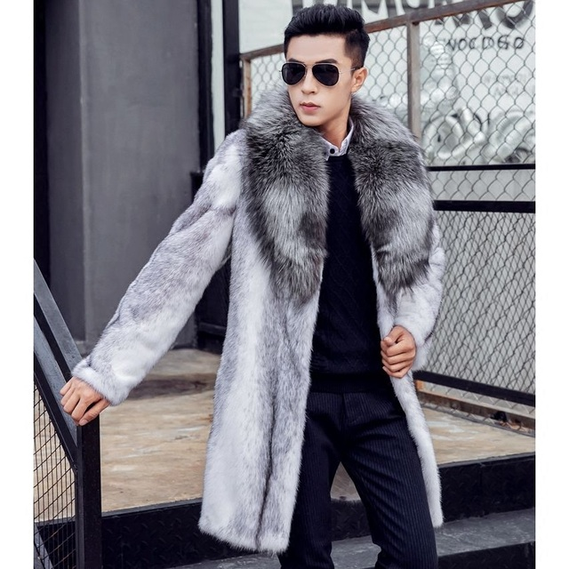 Real fur coat men winter luxury mink fur jacket natural cross mink ...
