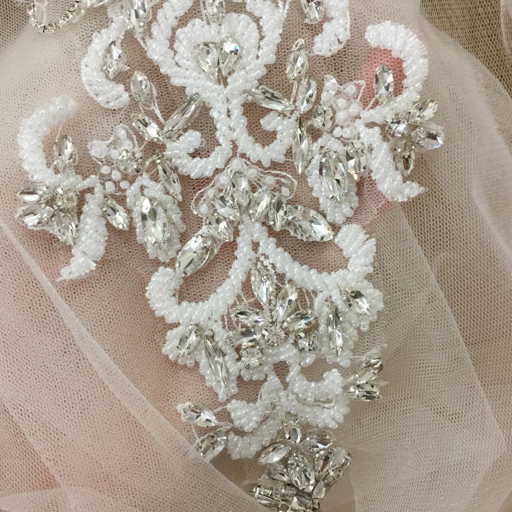1 pc Deluxe 3D Flower Rhinestone Applique Clear Crystal Beaded Applique for Bridal Sash Wedding Sash Belt Couture Bodice in Patches from Home Garden