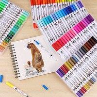 100 цветные двойные маркеры щеток ручка художественные принадлежности тонкий наконечник и наконечник для манги цвет ing рисование и дизайн
