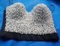 Nueva hechos a mano caliente mujeres atractivas del Rhinestone cristalino Top bordado Jeweled perla Bustier Crop Top Bra