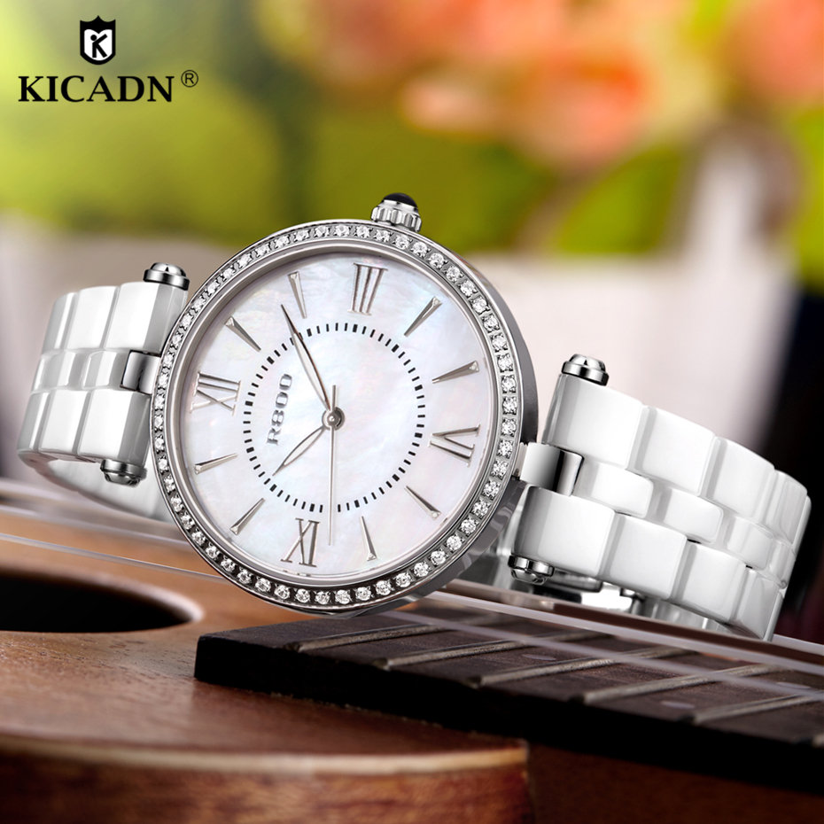 Ladies Fashion Quartz Watch Women Skin-friendly Ceramic Watches Luxury Brand New KICADN Casual Female Watches Clock Montre Femme цена