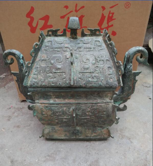 38 см */Сбора народная Китайский дворец редкие бронзовая статуя кадило