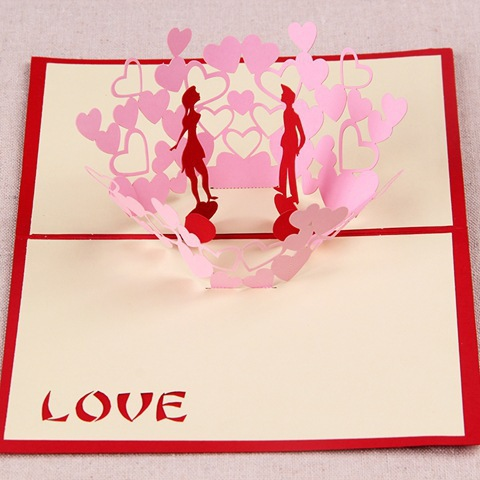 10pcsset diy valentine day happy gift cards love heart tree 3d