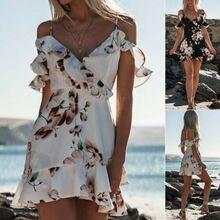 Womens Boho Floral Summer Party Evening Beach Short Mini Dress Sundress 2019