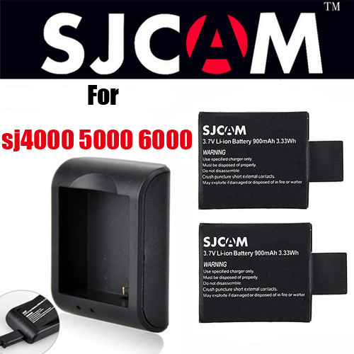 SJ 4000 900mAh 3.7V 3.33Wh Battery With AC DC Charger For GoPro Helmet Sport SJ4000 Digital Camera batterie With Charger