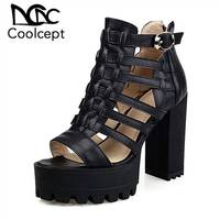 Coolcept Gladiator High Heel Sandals Platform Buckle Thick Heel Sandals Peep Toe Summer Shoes Beach Vacation Footwear Size 33 43