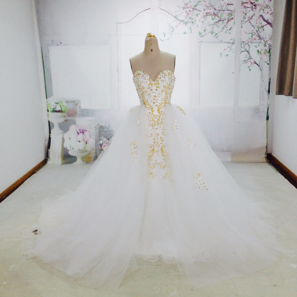 Buy real photos white and gold detachable for Wedding dress removable skirt