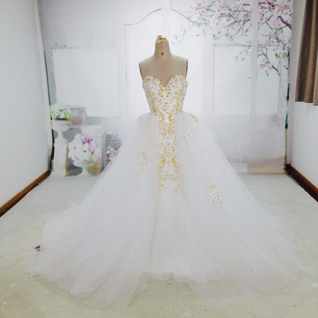 Real photos white and gold detachable skirt wedding dress 2017 real photos white and gold detachable skirt wedding dress 2017 vintage heavy beaded lace tulle mermaid junglespirit Choice Image