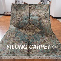 YILONG 7 X10 Persian Silk Handknotted Valueble Carpet Blue Exclusive Villa Floral Rug ML060A7x10