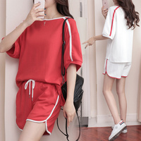 5XL 2018 Summer New Casual Sporting Suit Women Loose 1 2 Sleeve Pullover Tops Shorts 2pcs
