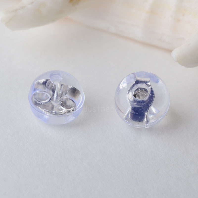 Solid 925 Sterling Silver Earnut With Silicon, Sterling Silver Earring Backs For Jewelry Diy Making Findings Accessories Supply