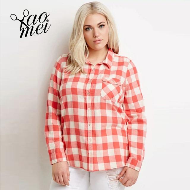YaoMei Plus Size Camisa Xadrez Vermelha Mulheres 2017 Roupas de Outono moda  Camisa Turn-down 7a83e83adf3