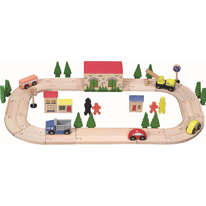 Wooden track small train car track set wooden children large early education puzzle assembled toy car set gift set