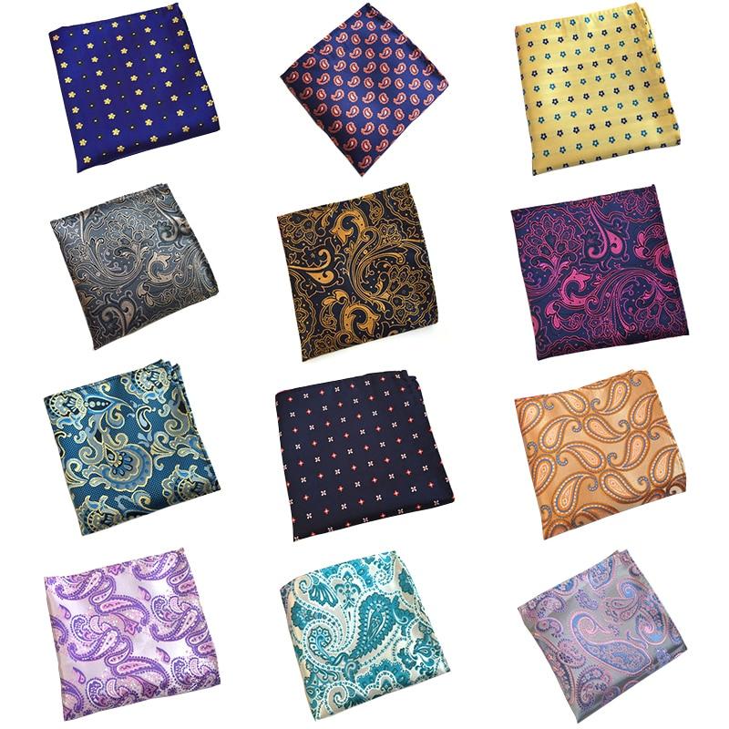 RBOCOTT Yellow Floral Pocket Squares Blue Paisley Handkerchiefs For Men Women Fashion Hanky 25cm*25cm For Business Wedding Suit