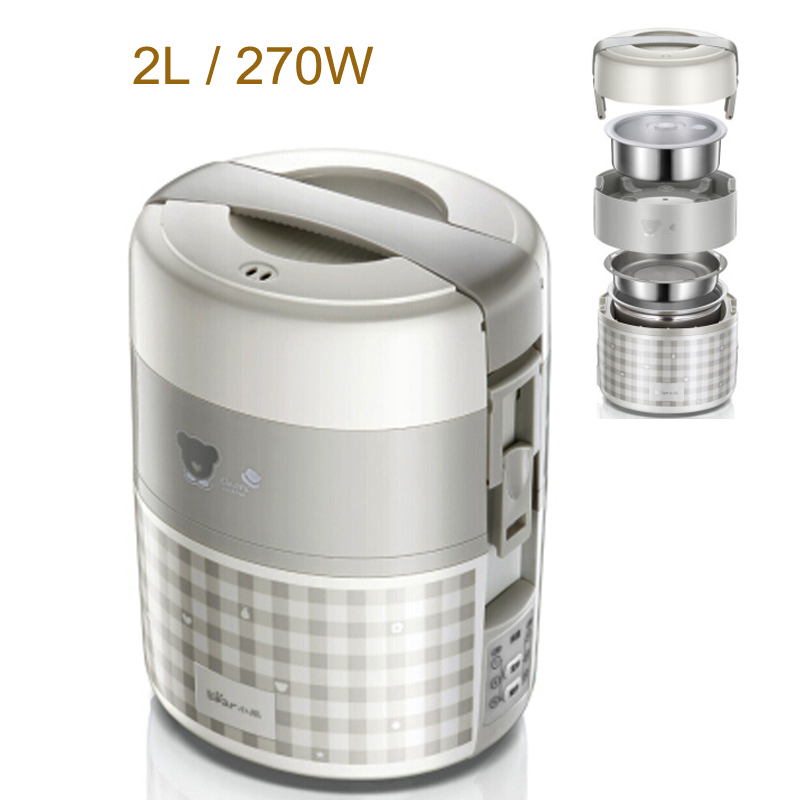 15%JA146 Electric Food Steamer 2L 270W Reservation Timing Electric Heating Lunch Box Microcomputer Control Food Warmer 3 Layer multi function electric lunch box stainless steel tank household pluggable electric heating insulation lunch box
