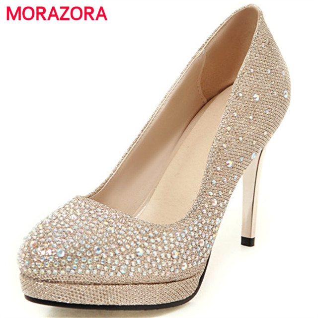 MORAZORA Rhinestone high heels shoes 9cm shallow summer shoes woman pumps  party elegant platform shoes big da9ec23f5c
