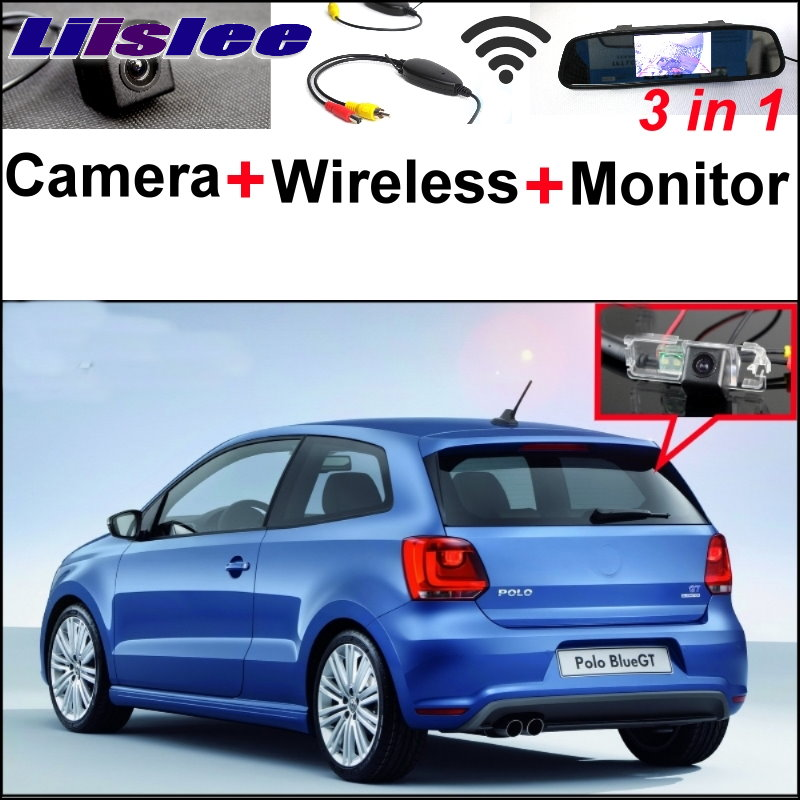 Liislee 3 in1 Special Rear View Camera + Wireless Receiver + Mirror Monitor DIY Parking System For Volkswagen VW Polo GTi Derby liislee 3 in1 special rear view camera wireless receiver mirror monitor diy parking system for mazda cx 3 cx 3 cx3 2014 2017