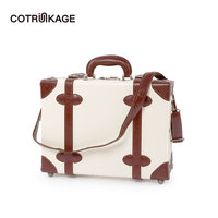 COTRUNKAGE Women 16 18 Ivory Pu Leather Cabin Case Vintage Hardside Carry On Suitcase Bag Travel Hand Carry Luggage Trunk