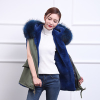Fur Hooded Parka 2017 Winter Jacket Women New Short Sleeve Parka Real Fur Coat Big Raccoon