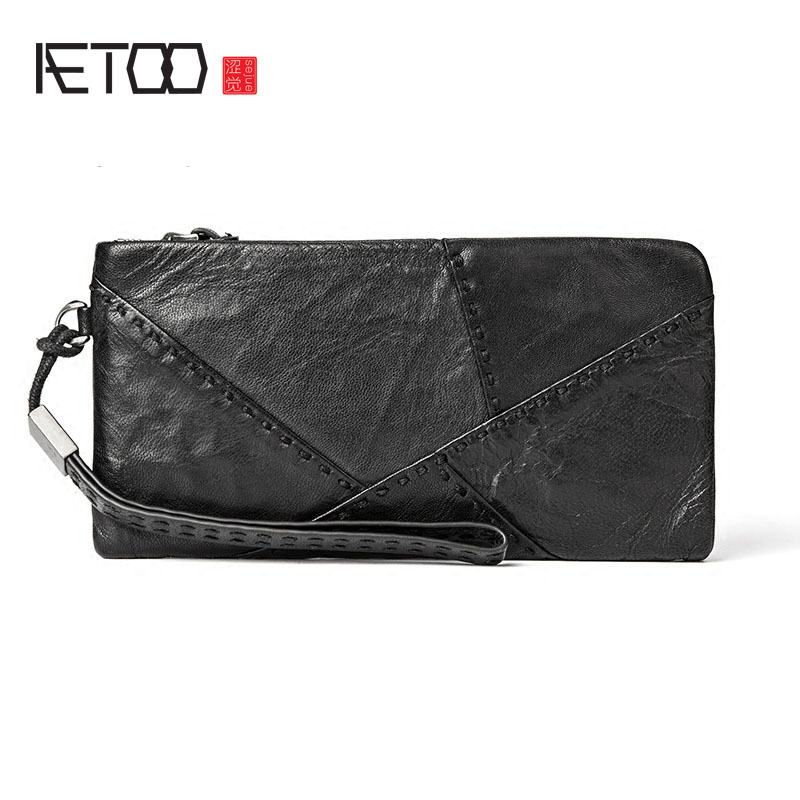 AETOO Handmade leather wallet men's long zipper wallet personality money folder sheepskin youth tide men's mobile Vintage wallet 0 free shipping creative personality skull graffiti tide male leather wallet long section of korean women wallet wallet youth