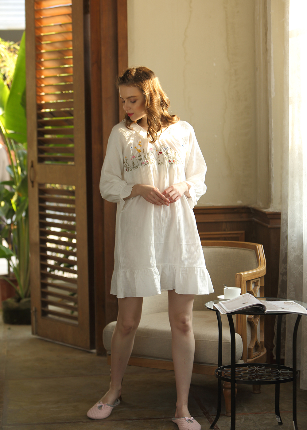Summer Short Nightdress Women Long Sleeve Cotton Nightgowns Lace Trimming Sleepwear White Palace Princess Dress Flower in Nightgowns Sleepshirts from Underwear Sleepwears