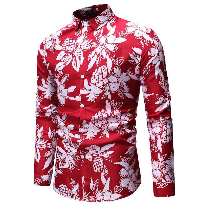 Красная Гавайская пляжная Мужская рубашка с длинным рукавом и цветочным принтом, мужские рубашки на пуговицах, повседневные тропические уродливые вечерние рубашки, гавайская рубашка