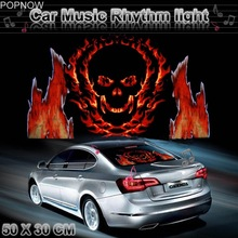 50x30cm Car Sticker Sound Music Activated EL Equalizer Glow Flash Color Light Car Styling Internal Music