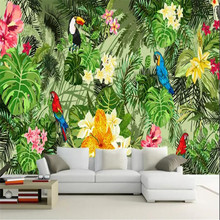 Hand-painted tropical plants cartoon background wall custom large wallpaper murals 3D photo wall manufacturers wholesale