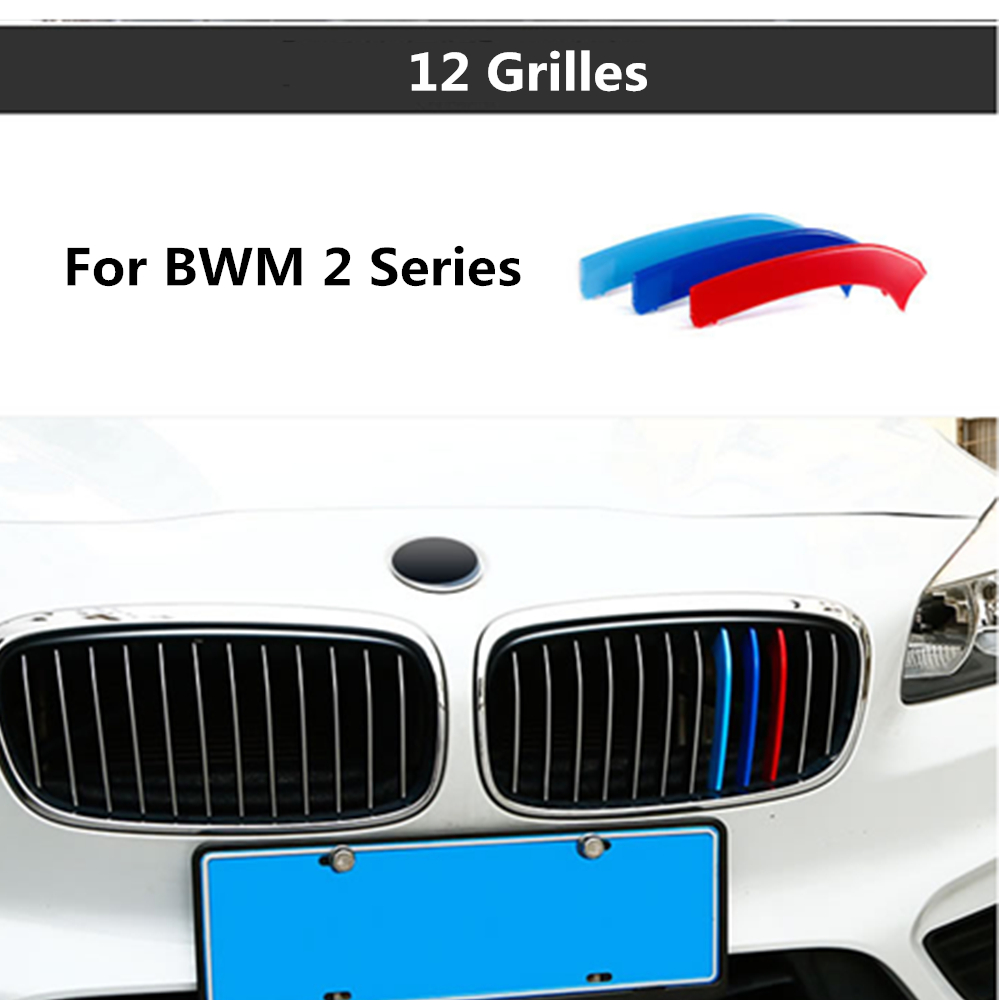 For BMW 2 Series Active Tourer 218i 220i 12 Grilles 2015-2017 3D styling M Front Grille Grills Trim Strips Cover sport Stickers 3 series carbon front bumper racing grill grills for bmw f30 f31 standard sport 12 16 320i 325i 330i 340i non m3 style car cover