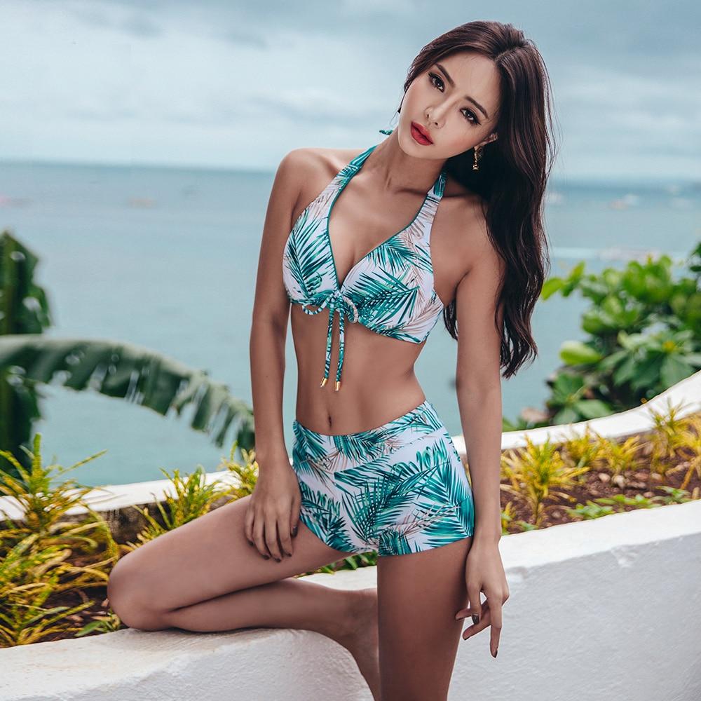 2018 Bikini ensemble femmes brésiliennes deux pièces Tankini Sexy maillot de bain manches longues manteau 3 pièces ensemble maillots de bain taille haute maillot de bain
