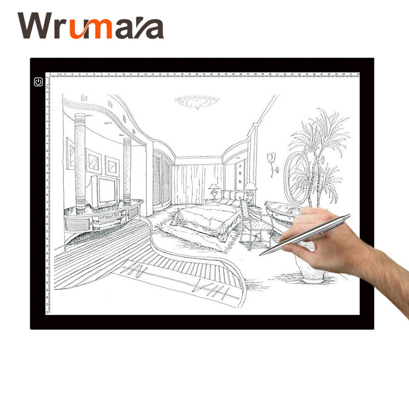 Wrumava A3 size LED Light Pad Box Drawing Board Artcraft Tracing Drawing Artists Sketching Animation for copy painting wrumava ultra thin a4 led writing painting light box tracing board copy pad drawing digital tablet artcraft copy table led board