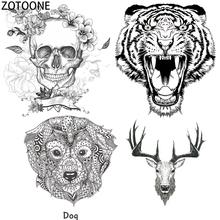 ZOTOONE Simple Skull Tiger Iron on Patches for Clothing Dreamcatcher Heat Transfers T-shirts Stickers Applications As Gift E