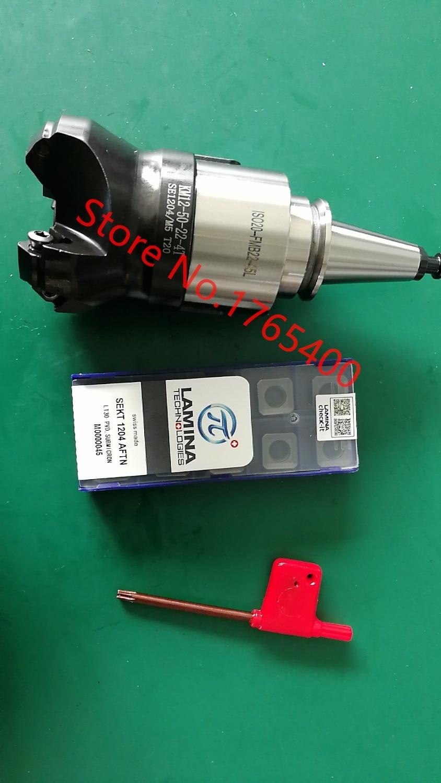 新しい ISO20 FMB22 45 ミリメートル M8 ホルダー + SE KM12 45 度フェースミルカッター KM12 50 22 4T + 10 個 SEKT1204 鋼超硬チップ  グループ上の ツール からの ツールホルダー の中 1