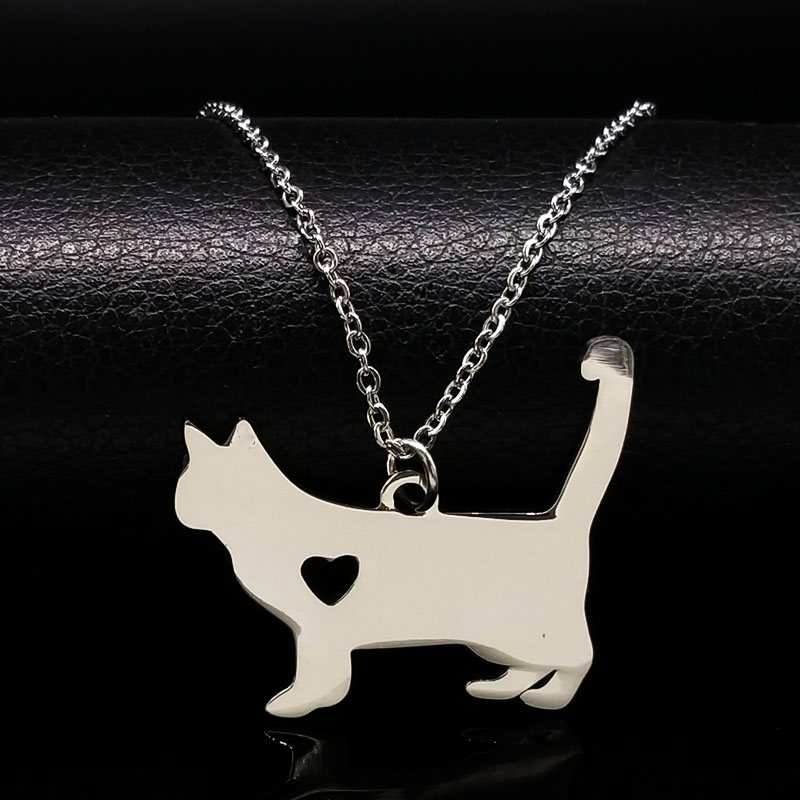 Stainless Steel Tiny Cat Pendant Necklace Women pokemon Charm cat necklaces & pendants neckless jewelry gatos collares N72220B