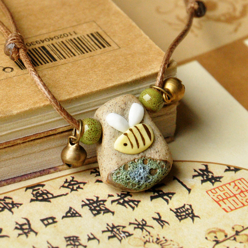 Little Bee Ceramic Beads Pendants Necklaces Women Weave Rope Chain Choker Adjustable Bronze Bell Statement Charm Ethnic Jewelry
