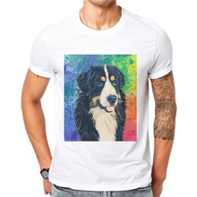 New Arrival Men T Shirt Hipster Creative Dog Print Border Collie Tee Shirts Short Sleeve Casual Mens T-Shirt Cotton Male Clothes недорого