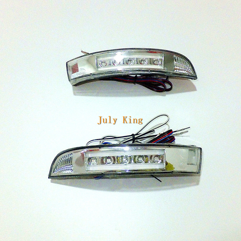 July King LED Rear view Mirror Lights; White DRL, Yellow Side Turn Signals, White Ground Lamp Case for Ford Kuga Escape 2013~ON