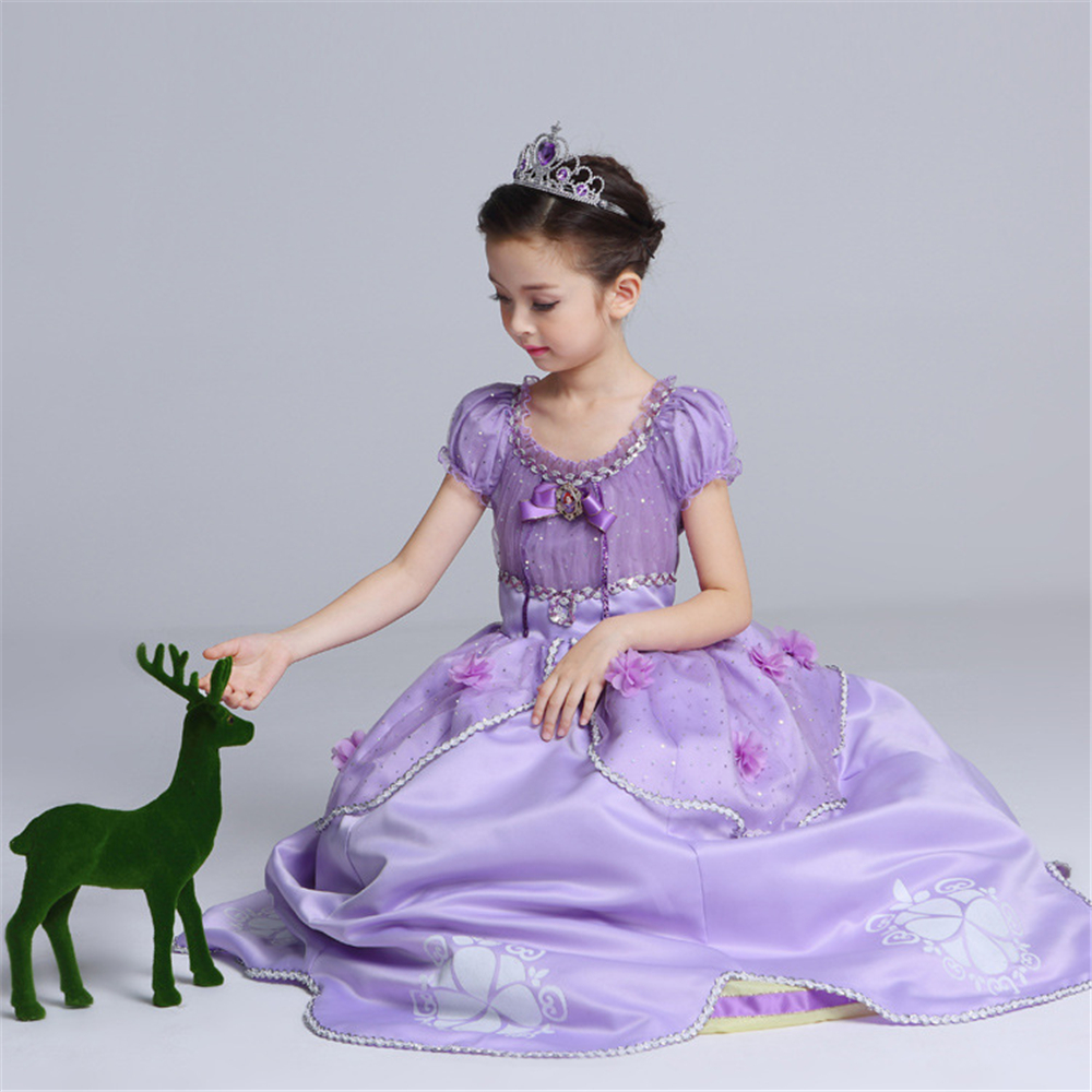 Holiday Fancy Girls Princess Sofia Dress Gowns Birthday Kids Floral Children 39 s Party Christmas Rapunzel Dress Fantasia Infantil in Dresses from Mother amp Kids
