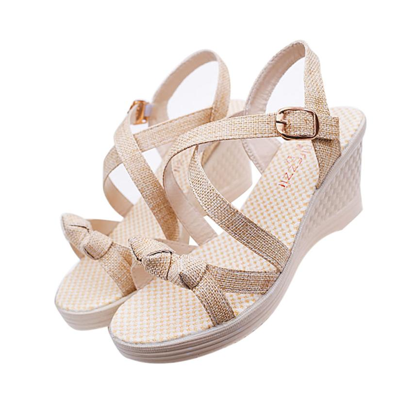 SAGACE Buckle Sandals Open-Toe Wedge Casual Apr6